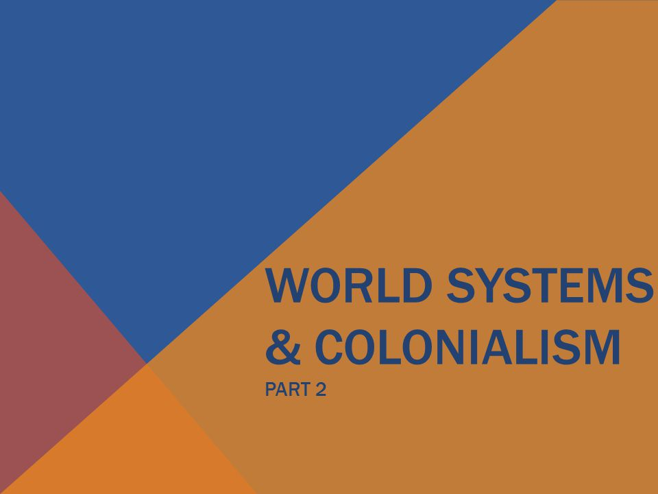 WORLD SYSTEMS & COLONIALISM PART 2