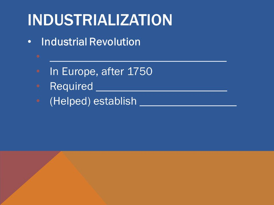 Industrial Revolution _______________________________ In Europe, after 1750 Required _______________________ (Helped) establish _________________