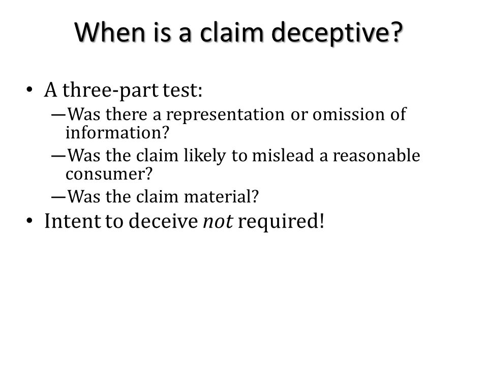 When is a claim deceptive.