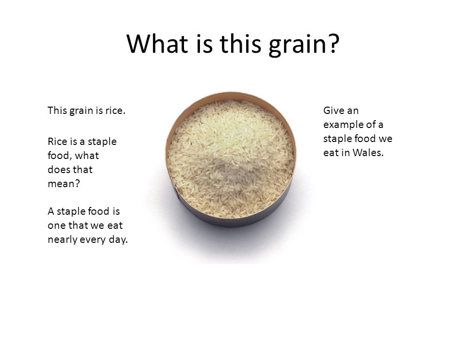 What is this grain. This grain is rice. Rice is a staple food, what does that mean.