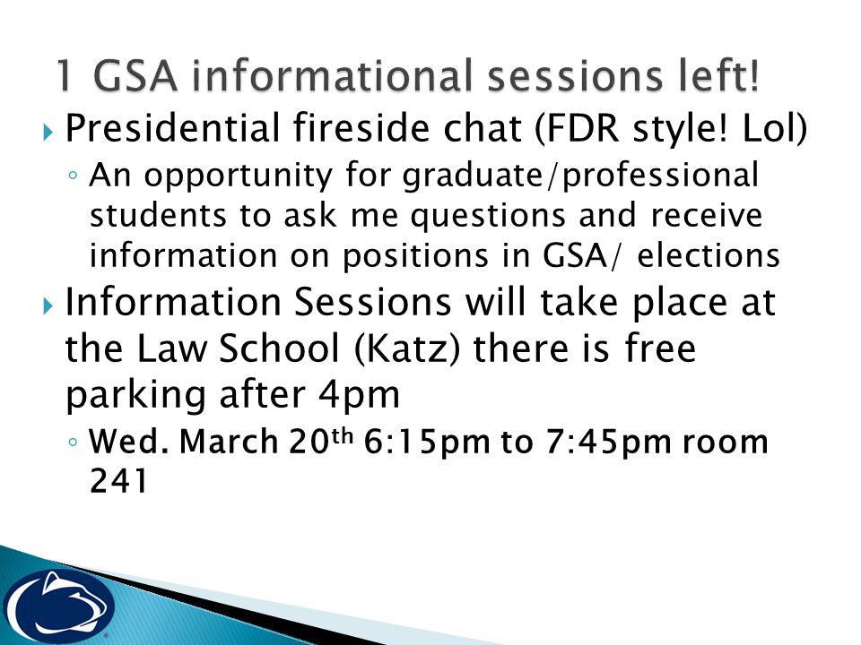  Presidential fireside chat (FDR style.