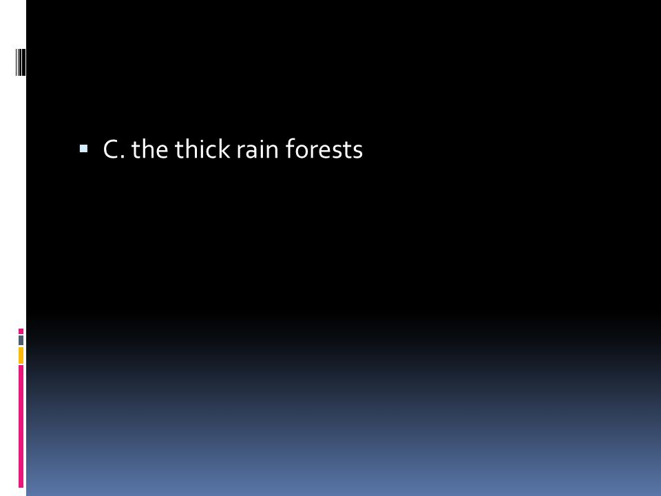  C. the thick rain forests
