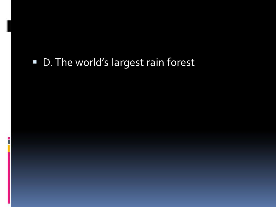  D. The world's largest rain forest