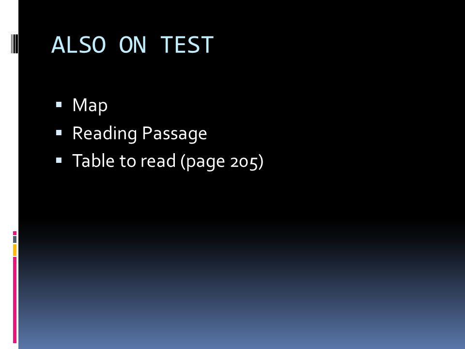ALSO ON TEST  Map  Reading Passage  Table to read (page 205)