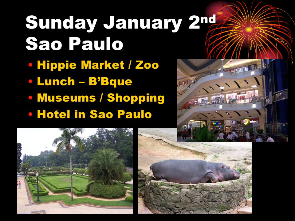 Sunday January 2 nd Sao Paulo Hippie Market / Zoo Lunch – B'Bque Museums / Shopping Hotel in Sao Paulo