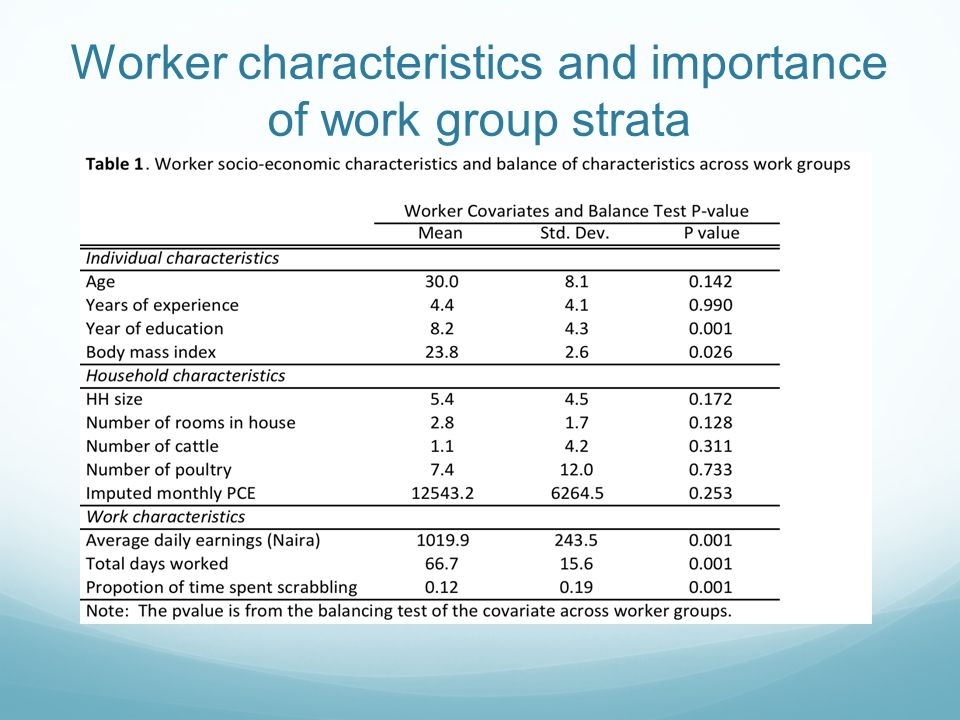 Worker characteristics and importance of work group strata