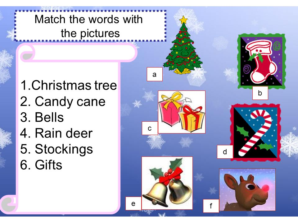 a Christmas tree 1.Christmas tree 2.Candy cane 3.