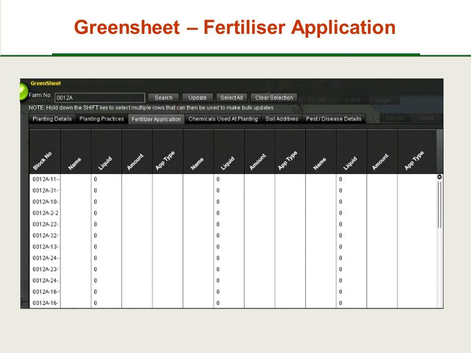 Greensheet – Fertiliser Application