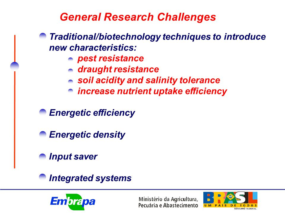 Traditional/biotechnology techniques to introduce new characteristics: pest resistance draught resistance soil acidity and salinity tolerance increase nutrient uptake efficiency Energetic efficiency Energetic density Input saver Integrated systems General Research Challenges