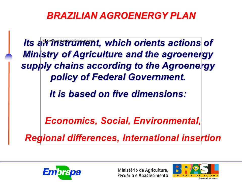 AGROENERGY Vegetal oils Animal fat Sugar cane, cassava Ethanol Residues Forests Briquettes wood coal Biodiesel Bagasse and straw Co-Generation Brazilian Agroenergy Production Matrix