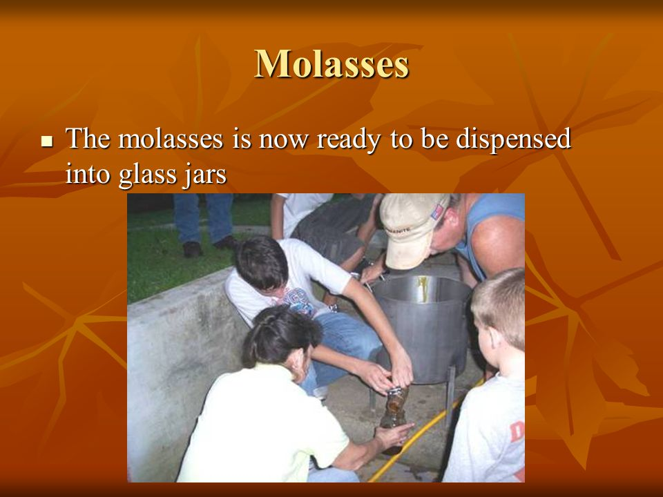 Molasses The cooked molasses was strained into a large pot The cooked molasses was strained into a large pot