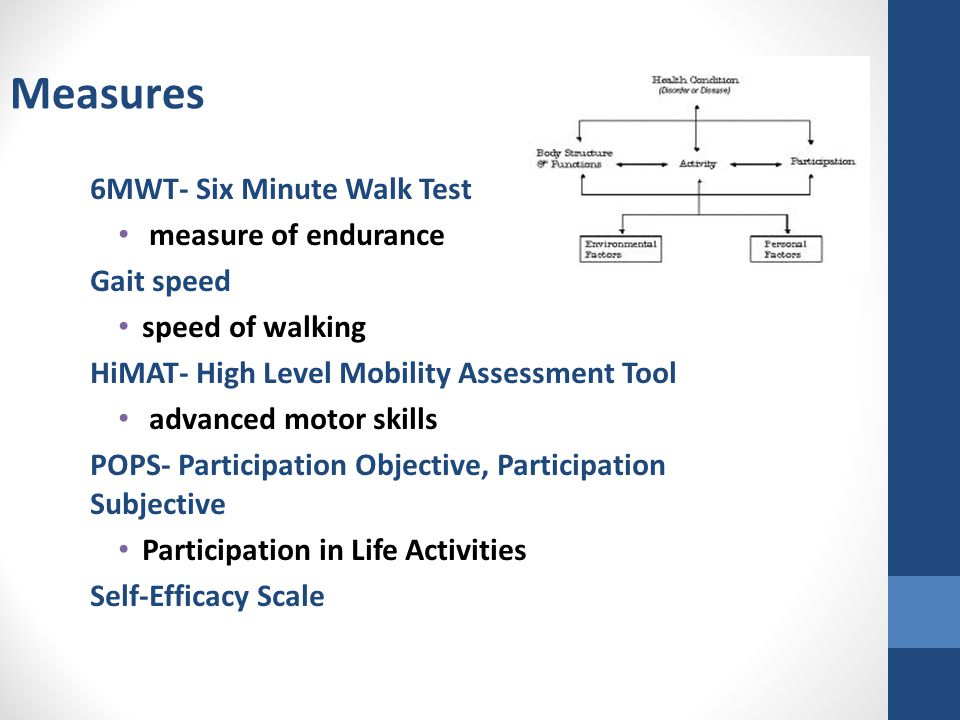 Measures 6MWT- Six Minute Walk Test measure of endurance Gait speed speed of walking HiMAT- High Level Mobility Assessment Tool advanced motor skills POPS- Participation Objective, Participation Subjective Participation in Life Activities Self-Efficacy Scale