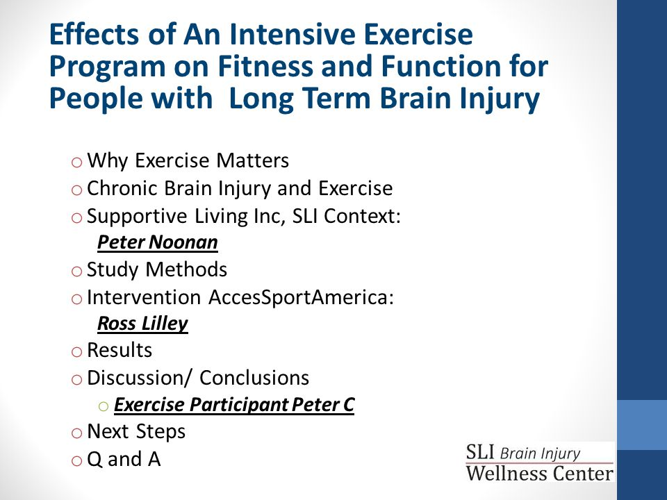 Discussion Individuals living with chronic brain injury can significantly improve: Endurance Home ambulator to community ambulator Ability to do advanced gait with 6 weeks of exercise!