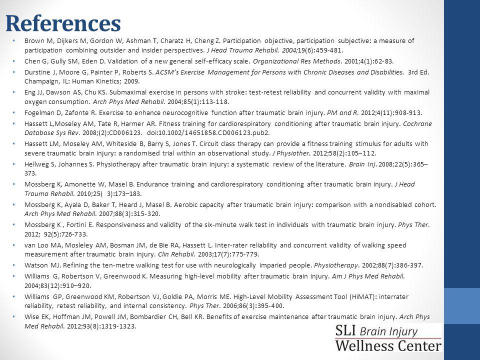 References Brown M, Dijkers M, Gordon W, Ashman T, Charatz H, Cheng Z.
