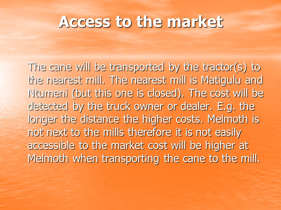 Access to the market The cane will be transported by the tractor(s) to the nearest mill.