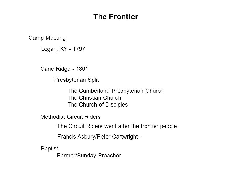 The Frontier Logan, KY - 1797 Cane Ridge - 1801 Methodist Circuit Riders Baptist Camp Meeting Presbyterian Split The Cumberland Presbyterian Church The Christian Church The Church of Disciples The Circuit Riders went after the frontier people.