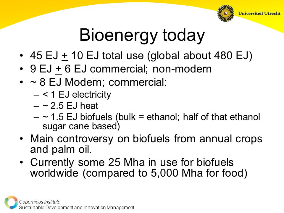 Copernicus Institute Sustainable Development and Innovation Management Bioenergy today 45 EJ + 10 EJ total use (global about 480 EJ) 9 EJ + 6 EJ commercial; non-modern ~ 8 EJ Modern; commercial: –< 1 EJ electricity –~ 2.5 EJ heat –~ 1.5 EJ biofuels (bulk = ethanol; half of that ethanol sugar cane based) Main controversy on biofuels from annual crops and palm oil.