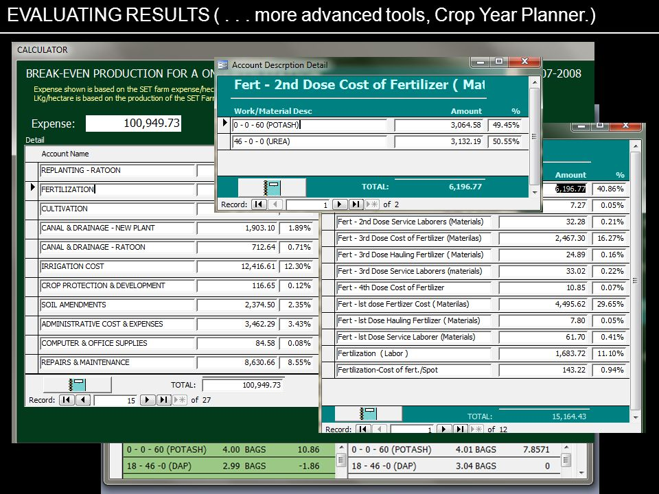 EVALUATING RESULTS (... more advanced tools, Crop Year Planner.)