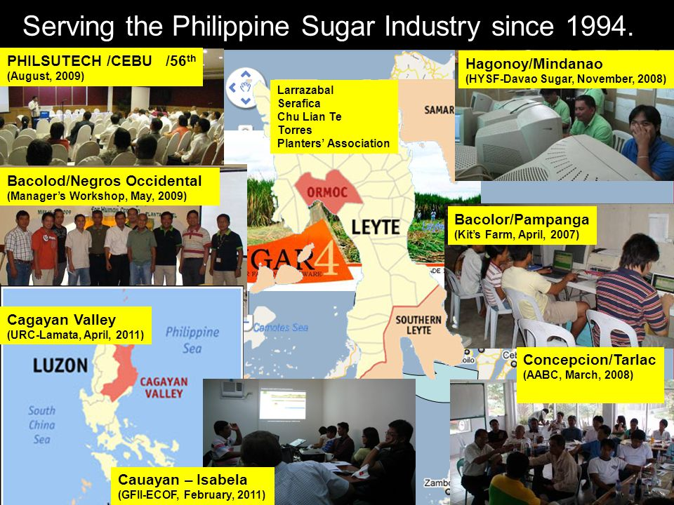 Serving the Philippine Sugar Industry since 1994. PHILSUTECH /CEBU /56 th (August, 2009) Bacolod/Negros Occidental (Manager's Workshop, May, 2009) Bac