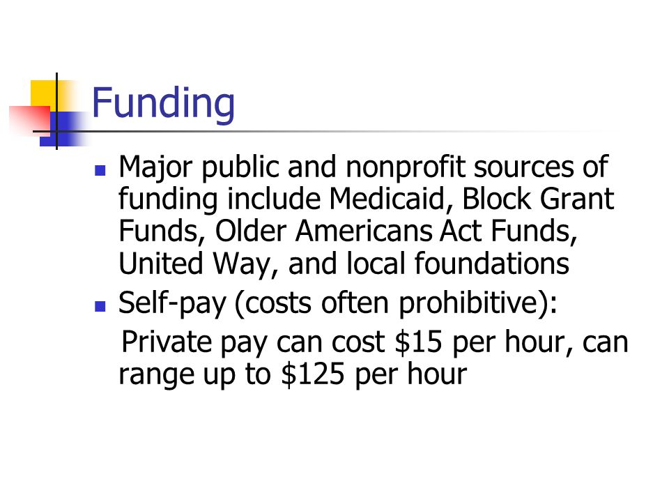 Funding Major public and nonprofit sources of funding include Medicaid, Block Grant Funds, Older Americans Act Funds, United Way, and local foundations Self-pay (costs often prohibitive): Private pay can cost $15 per hour, can range up to $125 per hour