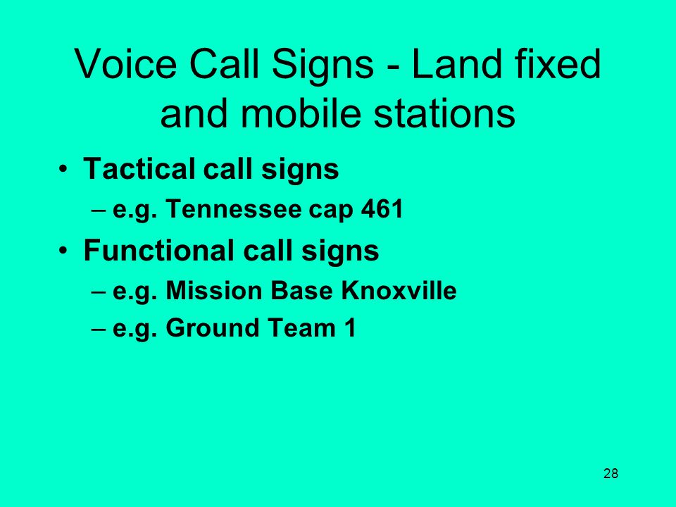 27 Types of Stations & Tactical Call Signs GROUND AIRMOBILE TENNESSEE CAP 40 CAPFLIGHT 4134 TENNESSEE CAP 461 MOBILE TENNESSEE WING CALL SIGN EXAMPLES