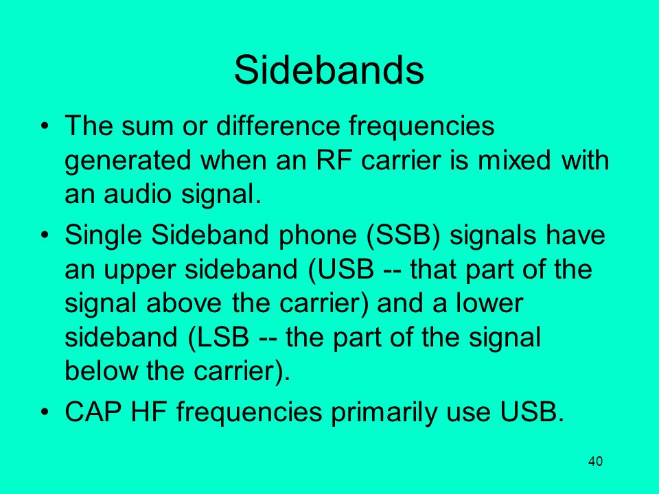 39 Frequency Modulation The process of varying the frequency of a radio frequency carrier in response to the instantaneous changes in a signal source