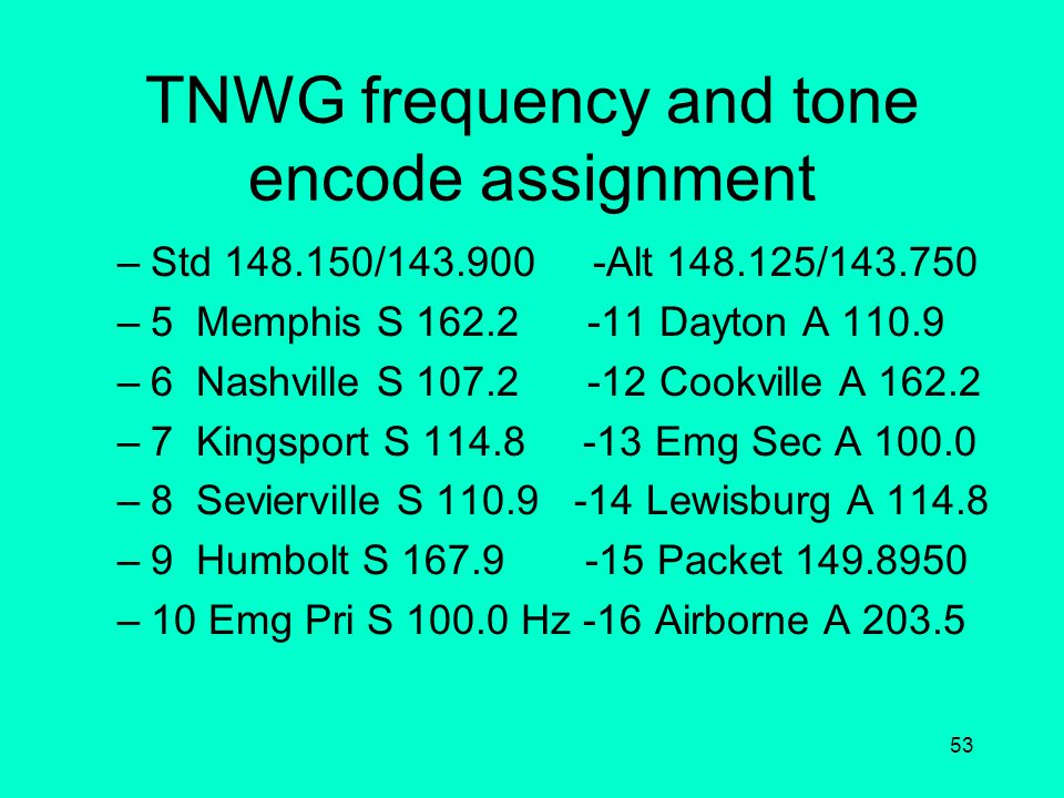 52 National standard frequency and tone encode assignment All corporate VHF radios are mandated to have the following frequencies assigned to channels