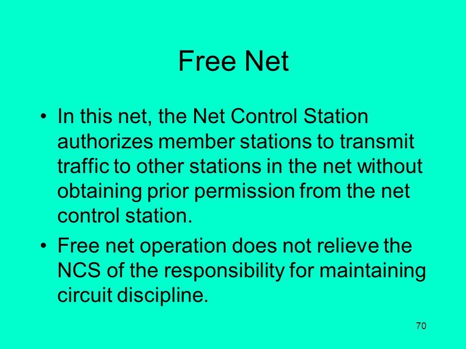 69 Types of Nets Command Net Communicators Net Chaplain's Net Special Purpose Nets –Mission Net –Training Net Regional Nets Wing Nets Group Nets Squad
