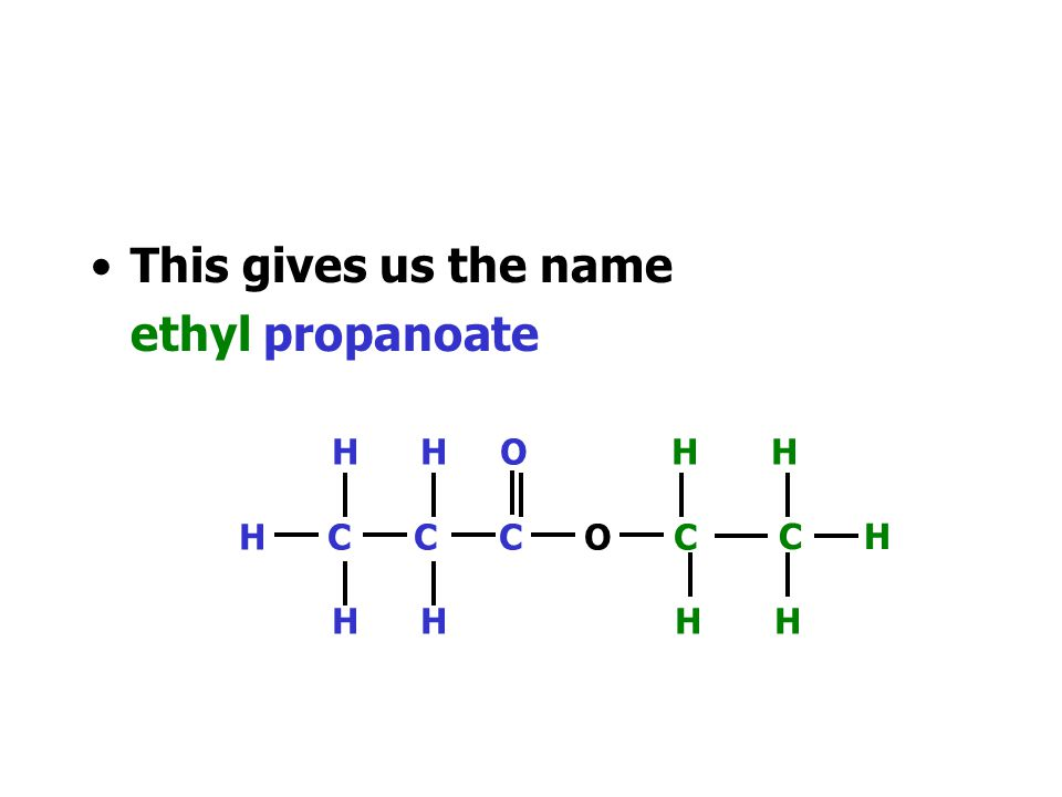 We can identify the part that came from the alkanol - ethanol H H O H H H C C C O C H H H H C H