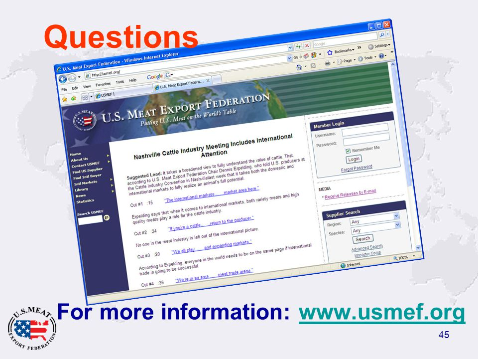45 Questions For more information: www.usmef.orgwww.usmef.org
