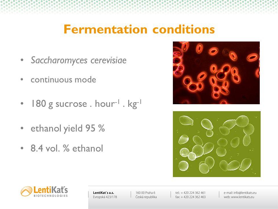Fermentation conditions Saccharomyces cerevisiae continuous mode 180 g sucrose. hour -1. kg -1 ethanol yield 95 % 8.4 vol. % ethanol