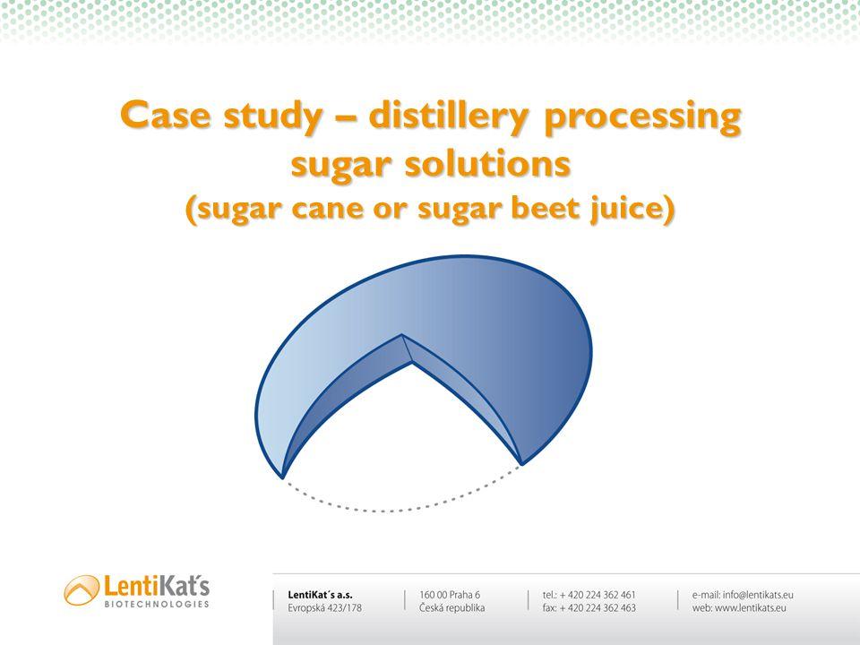 Case study – distillery processing sugar solutions (sugar cane or sugar beet juice)