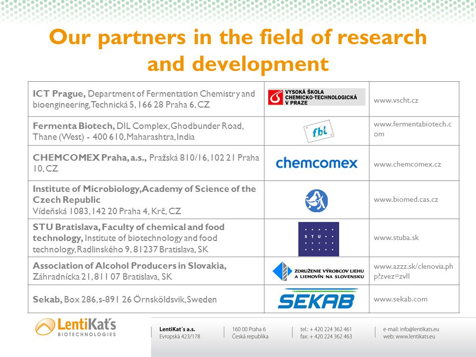 Our partners in the field of research and development ICT Prague, Department of Fermentation Chemistry and bioengineering, Technická 5, 166 28 Praha 6