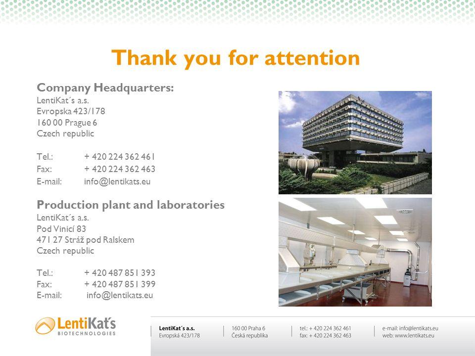 Thank you for attention Company Headquarters: LentiKat´s a.s. Evropska 423/178 160 00 Prague 6 Czech republic Tel.:+ 420 224 362 461 Fax:+ 420 224 362