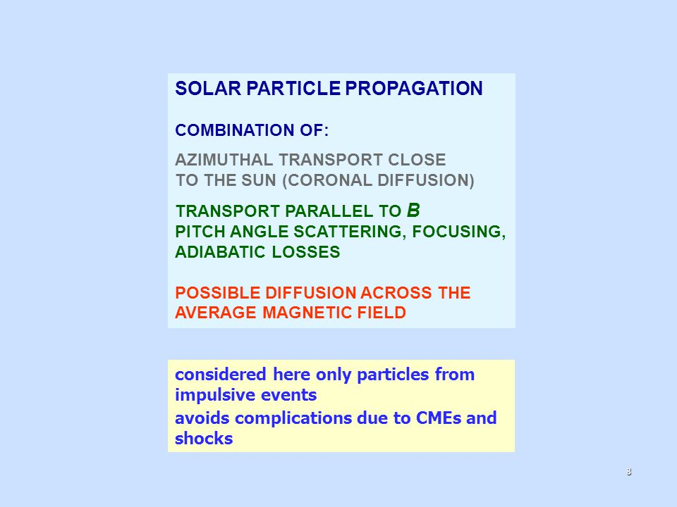 SOLAR PARTICLE PROPAGATION COMBINATION OF: AZIMUTHAL TRANSPORT CLOSE TO THE SUN (CORONAL DIFFUSION) TRANSPORT PARALLEL TO B PITCH ANGLE SCATTERING, FOCUSING, ADIABATIC LOSSES POSSIBLE DIFFUSION ACROSS THE AVERAGE MAGNETIC FIELD considered here only particles from impulsive events avoids complications due to CMEs and shocks 8