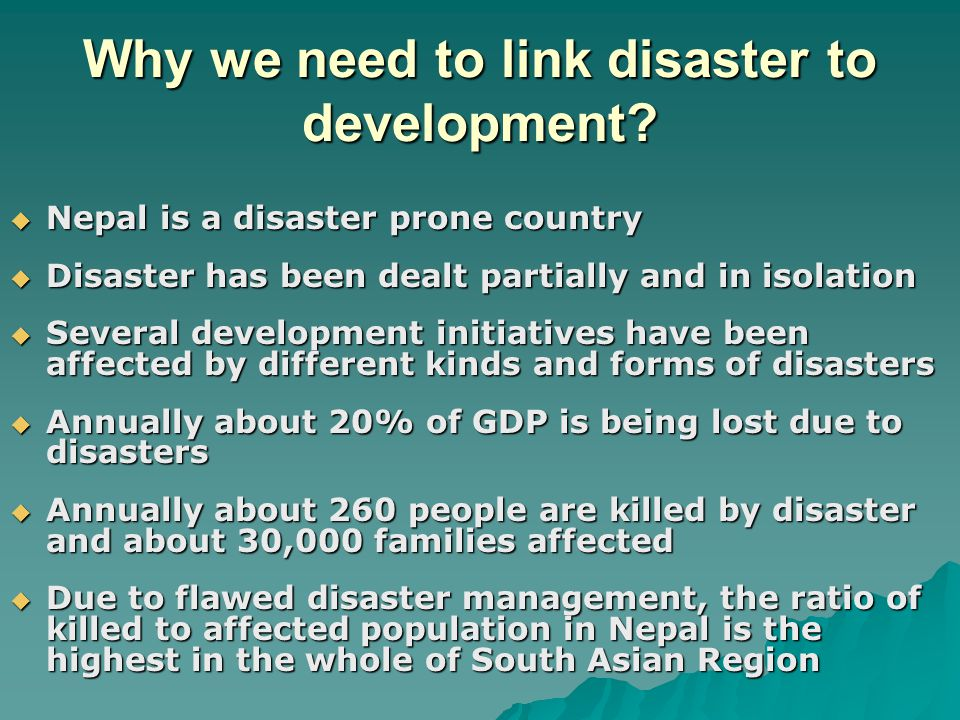 Why we need to link disaster to development.