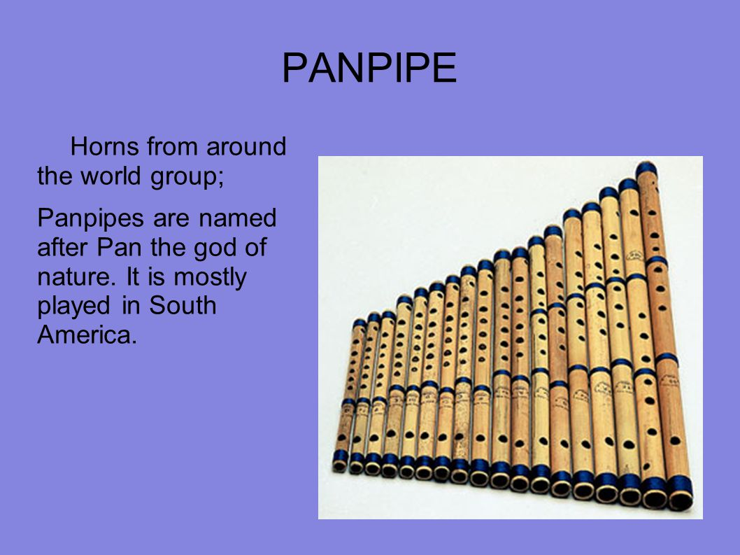 PANPIPE Horns from around the world group; Panpipes are named after Pan the god of nature. It is mostly played in South America.