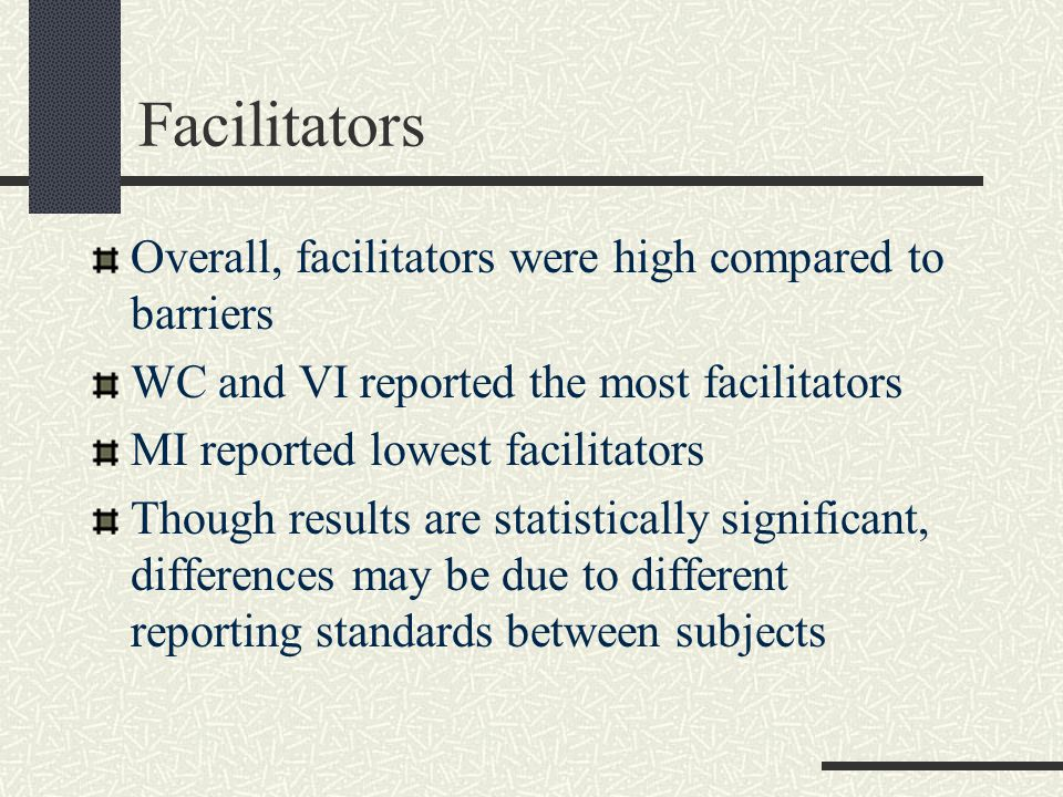 Facilitators Overall, facilitators were high compared to barriers WC and VI reported the most facilitators MI reported lowest facilitators Though results are statistically significant, differences may be due to different reporting standards between subjects