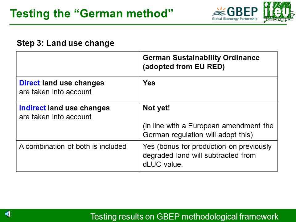 Testing results on GBEP methodological framework Testing the German method Step 2: Source of biomass German Sustainability Ordinance (adopted from EU RED) Please explain definition of waste: Substance that the holder intended to discard Substance that had zero or negative economic value Substance for which the use was uncertain Substance that was not deliberately produced and not ready for use without further processing Substance that could have adversely affected the environment No definition just a general that certain feedstock of less value like agricultural crop residues (straw, husks, nut shells and even bagasse and non refined glycerine) will enter/leave the system boundary with zero emission.