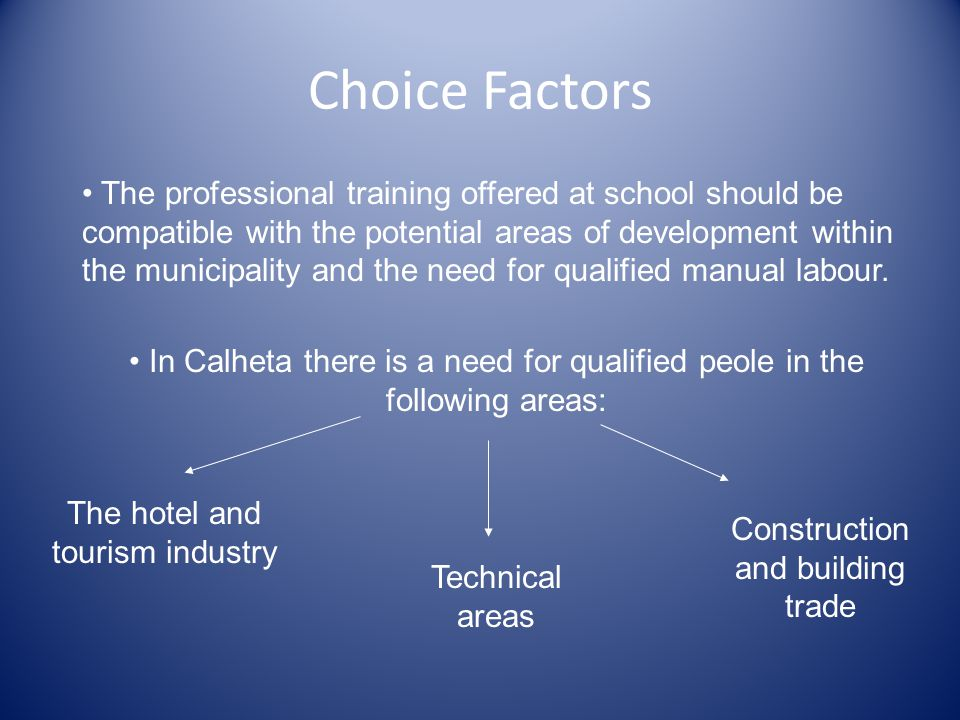Choice Factors The professional training offered at school should be compatible with the potential areas of development within the municipality and the need for qualified manual labour.