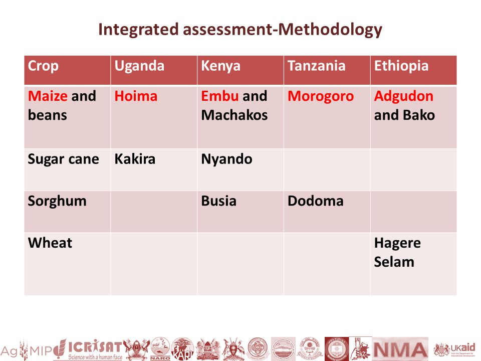 Integrated assessment-Methodology CropUgandaKenyaTanzaniaEthiopia Maize and beans HoimaEmbu and Machakos MorogoroAdgudon and Bako Sugar caneKakiraNyando Sorghum BusiaDodoma WheatHagere Selam