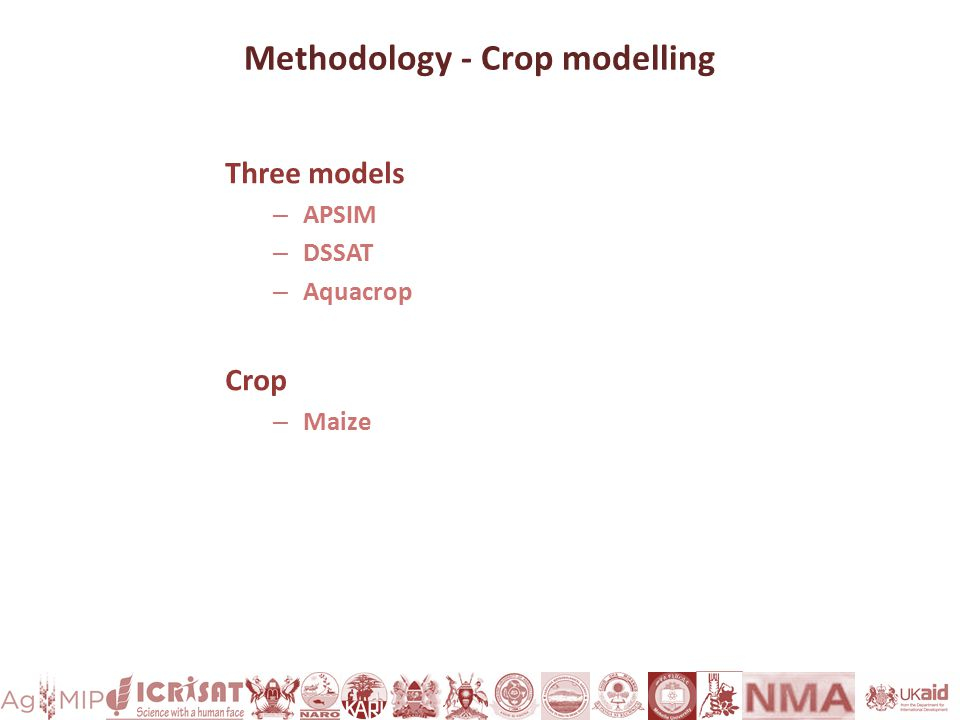 Methodology - Crop modelling Three models – APSIM – DSSAT – Aquacrop Crop – Maize