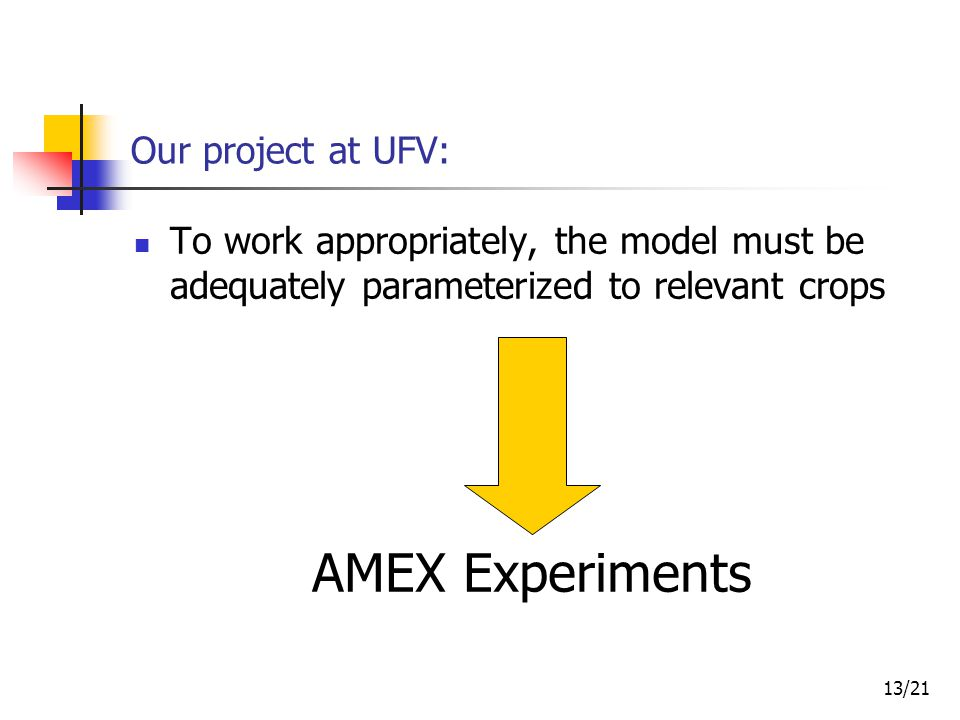 13/21 To work appropriately, the model must be adequately parameterized to relevant crops Our project at UFV: AMEX Experiments