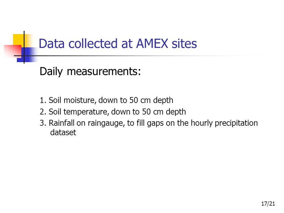 18/21 Data collected at AMEX sites Weekly measurements: 1.