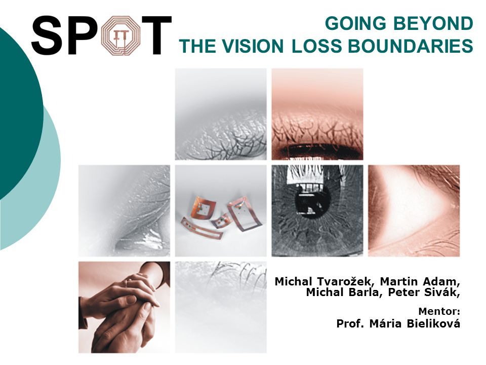 GOING BEYOND THE VISION LOSS BOUNDARIES Michal Tvarožek, Martin Adam, Michal Barla, Peter Sivák, Mentor: Prof. Mária Bieliková