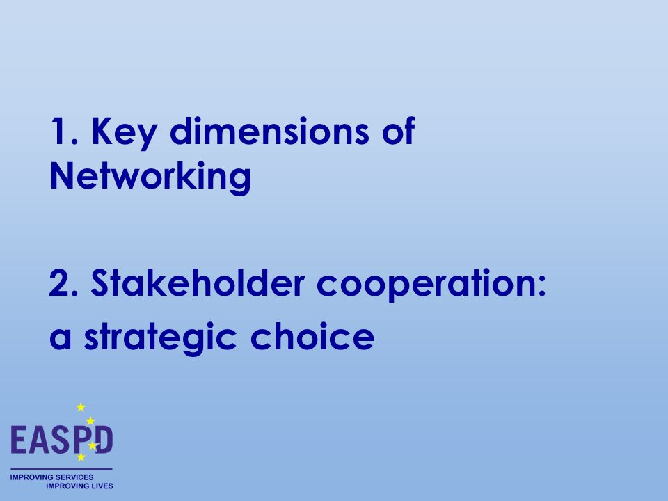 1. Key dimensions of Networking 2. Stakeholder cooperation: a strategic choice