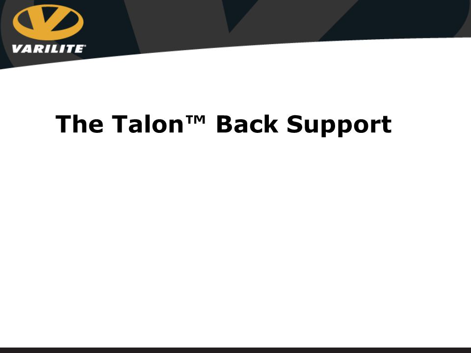 Talon Back system of choice for clients requiring minimal trunk support Fully adjustable Easy to mount Extremely lightweight