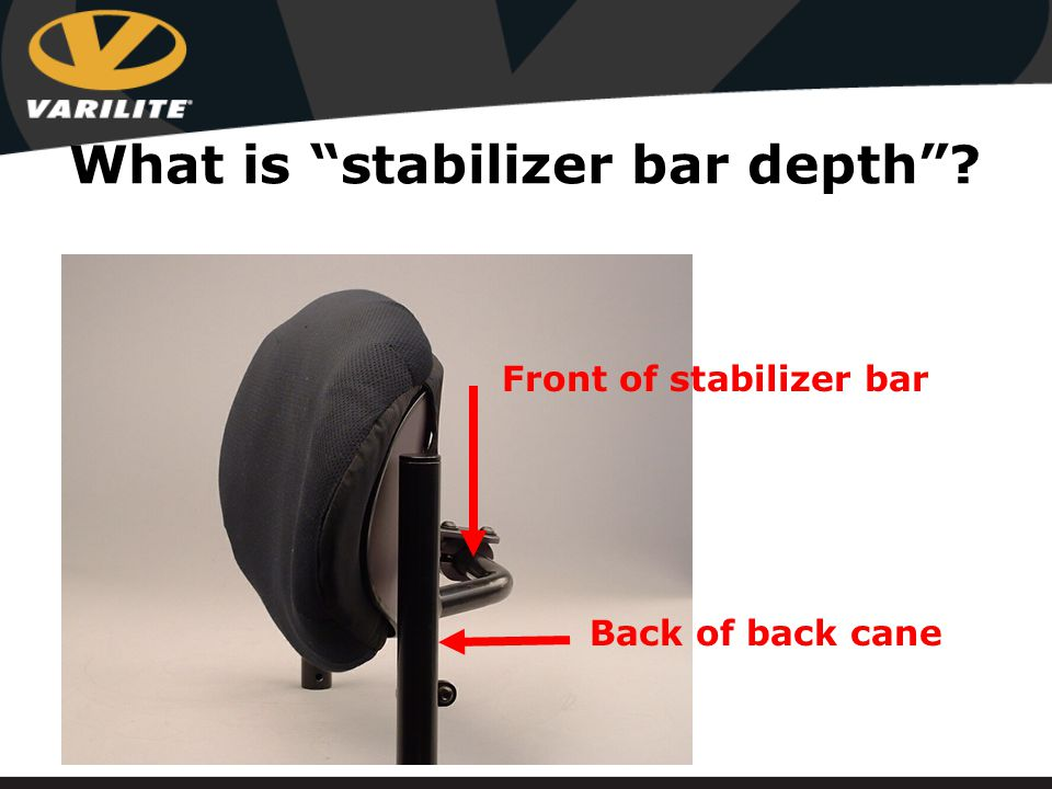 What is stabilizer bar depth Front of stabilizer bar Back of back cane