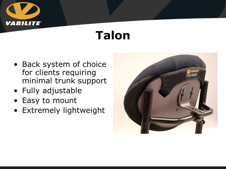 Talon Shell Constructed of lightweight aluminum Brushed to look like titanium Oval shaped for maximum support Contoured for lateral support Low profile for upper body freedom of movement