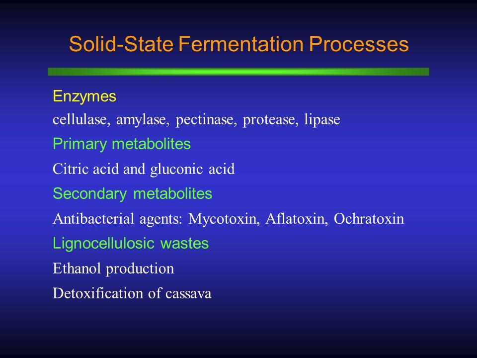 WT Solid-State Fermentation Processes Enzymes cellulase, amylase, pectinase, protease, lipase Primary metabolites Citric acid and gluconic acid Secondary metabolites Antibacterial agents: Mycotoxin, Aflatoxin, Ochratoxin Lignocellulosic wastes Ethanol production Detoxification of cassava